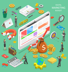 digital marketing budget flat isometric vector image