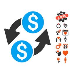 dollar exchange icon with love bonus vector image
