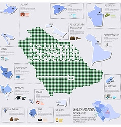 Dot And Flag Map Of Saudi Arabia Infographic vector