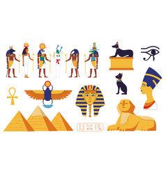 egypt collection ancient egyptian gods or vector image