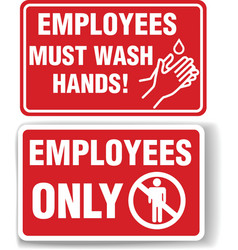 Employees only and must wash hands signs vector