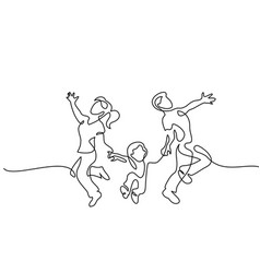 family concept father mother and kids dancing vector image
