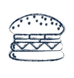 Figure tasty and fresh hamburger fast food vector