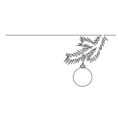 fir christmas tree branch with decorative ball vector image