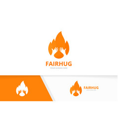fire and hands logo combination flame and vector image