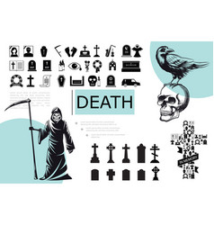 flat death elements composition vector image