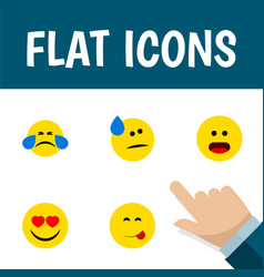 flat icon emoji set of love tears delicious food vector image