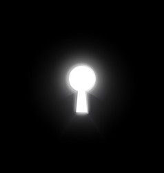 glow key hole on dark wall business concept vector image