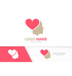 heart and face logo combination unique man vector image