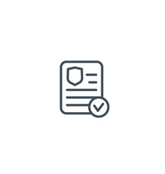 Insurance policy document icon in linear style vector