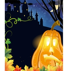 Jack O Lantern near the castle vector