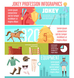 Jockey profession infographics layout vector