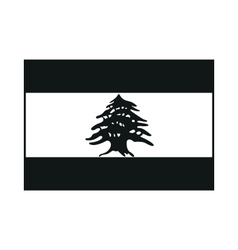 Lebanon flag monochrome on white background vector image