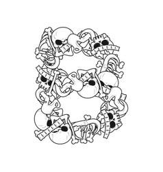 letter b skeleton bones font anatomy of an vector image