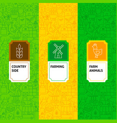 line farming package labels vector image
