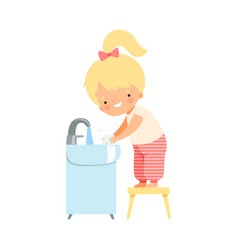 Little girl holding soap washing her hands in the vector