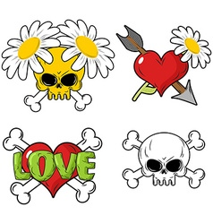Love and death Set elements Skull and red heart vector image vector image