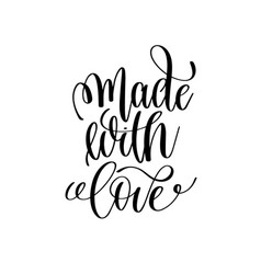 Made with love black and white ink lettering vector