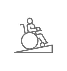 Man in wheelchair wheelchair ramp people vector