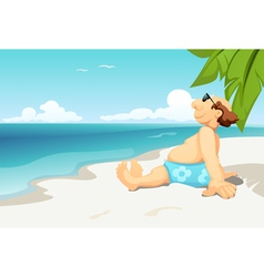 Man on beach vector image