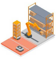 Modern warehouse isometric concept vector