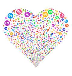 money fireworks heart vector image