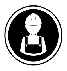 monochrome circular emblem with worker with helmet vector image