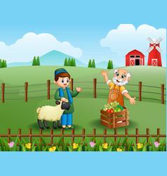 Muslim farmers happy work in the farm vector