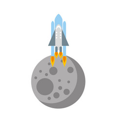 Natural satellite moon with rocket vector