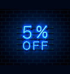 neon 5 off text banner night sign vector image