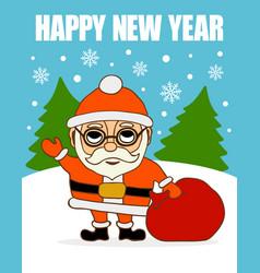 New year card santa claus with bag vector