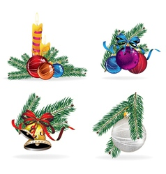 New Year decorations set vector image