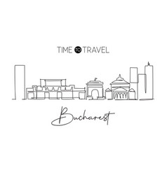 one continuous line drawing bucharest city vector image