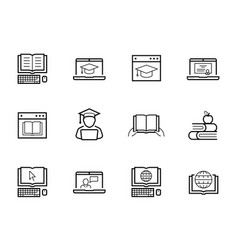 online education and web-based training icon set vector image