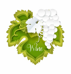 paper cut bunch white grapes with leaf vector image