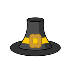 Pilgrim hat isolated old black cap traveler on vector