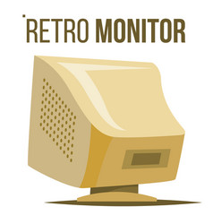 retro computer monitor old classic desktop vector image