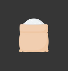 Rice in opened sackcloth bag flat icon vector