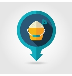 Sand Bucket and Shovel pin map flat icon Summer vector