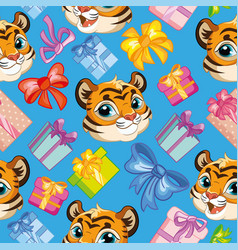 Seamless pattern tigers heads birthday blue vector