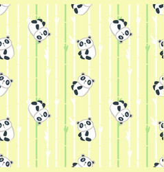seamless pattern with cute little panda vector image