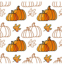Seamless pattern with pumkin and leaves vector