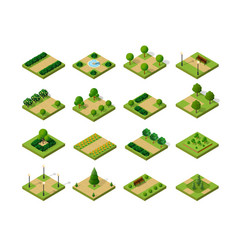 Set of isometric urban parks city natural vector