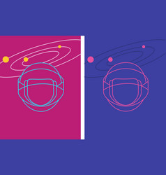 set of two neon cosmic helmet and galaxy cards vector image