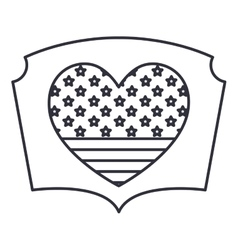 Silhouette usa flag inside heart design vector