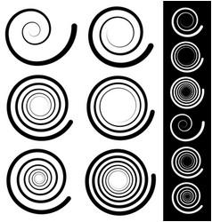 Spiral elements set of 6 different swirl swoosh vector
