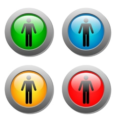 Standing human icon set on glass buttons vector image