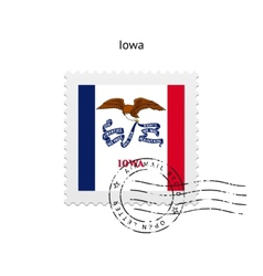 State iowa flag postage stamp vector