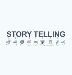 story telling banner web icon for marketing vector image