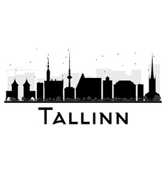 Tallinn City skyline black and white silhouette vector image